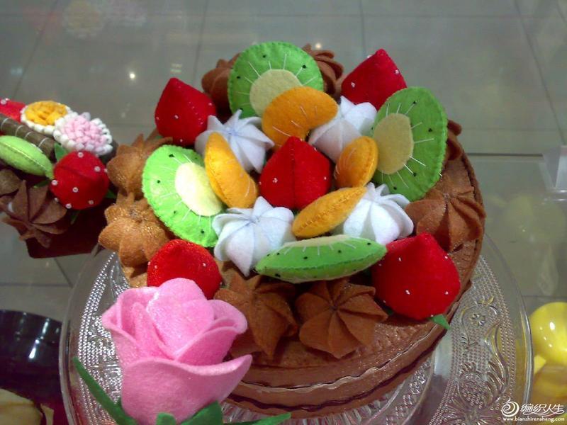 不织布手工diy水果蛋糕图片