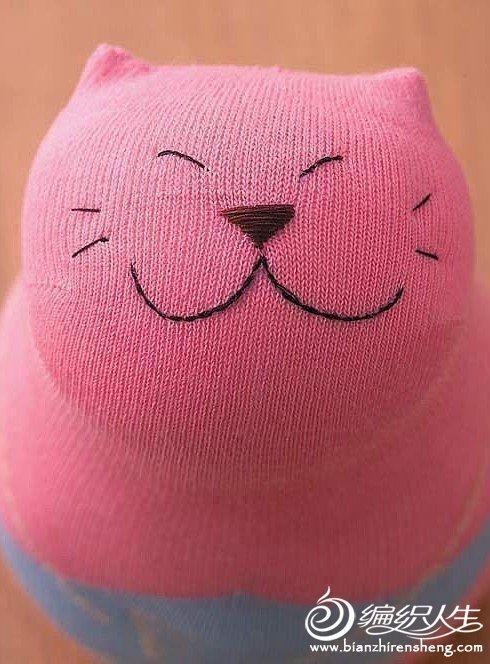 手工diy 袜子娃娃招财猫的制作过程-编织人生