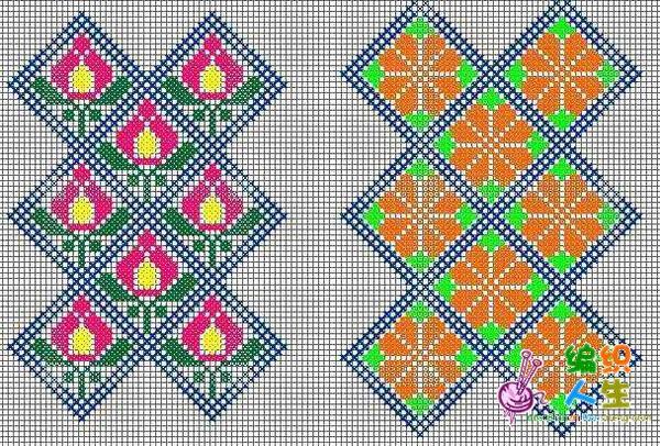 十字绣鞋垫连续底纹图案(2)
