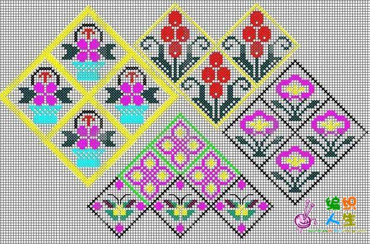 十字绣鞋垫连续底纹图案(2)  这组图案以小菱形为基础,变形花朵为素材