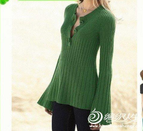 绿色韩版长款毛衣的编织教程