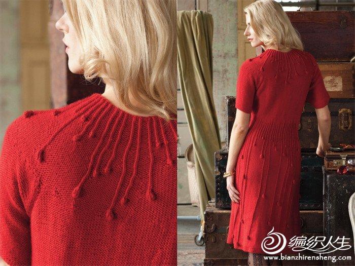 优雅简洁的红色雨滴连衣裙