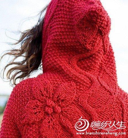 后背花形长款红毛衣的.-编织人生移动门户