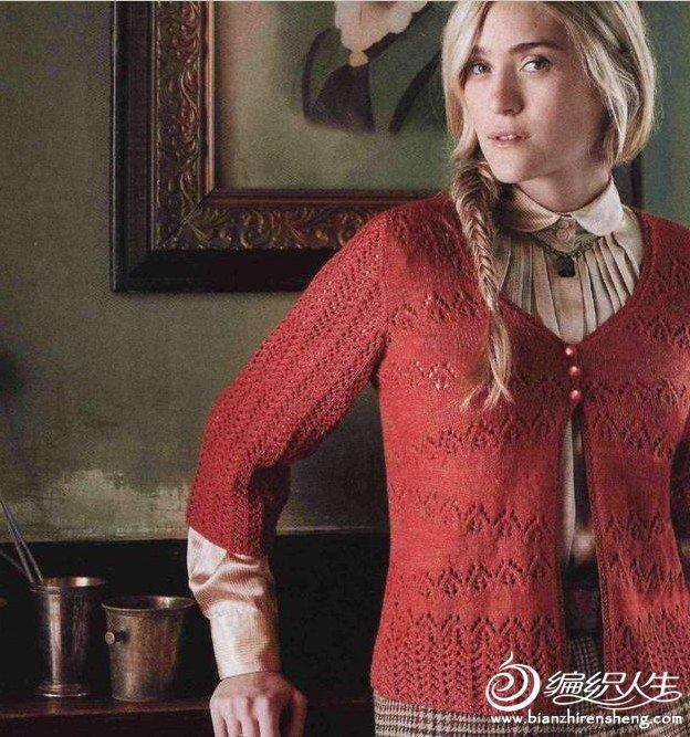 一件红色女式开衫的编织教程