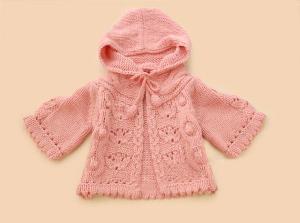 韩版宝宝连帽小外套的编织教程
