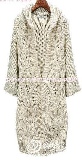 长款V领七分袖麻花毛衣的编织教程