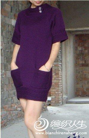紫色长款短袖毛衣裙的编织教程