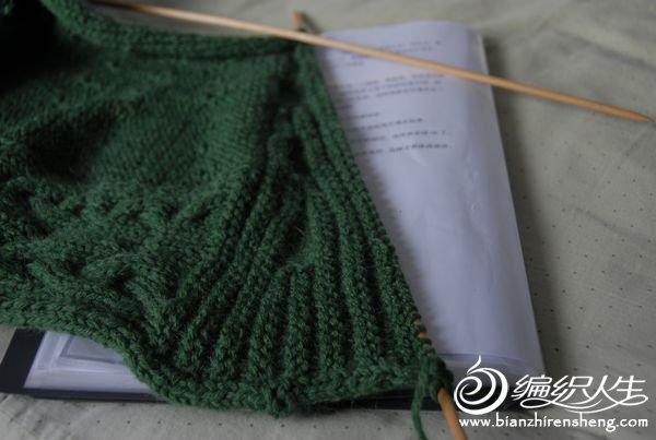 棒针手工编织毛衣之绿色披肩式毛衣详细图解教程