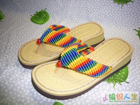 五彩手编拖鞋 凉鞋