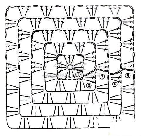 钩针基础之方块四角花的钩法图解