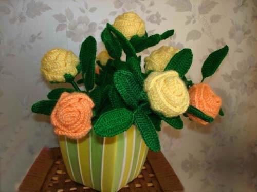 教你钩织漂亮的玫瑰花束