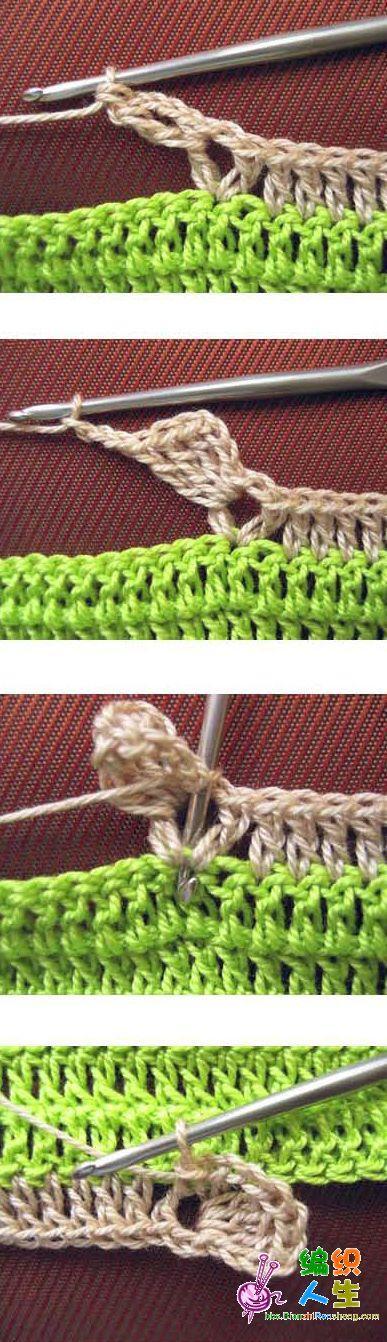 长针底纹中钩入小花(2)---四叶草