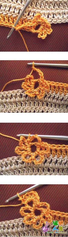 长针底纹中钩入小花(3)---6瓣立体化