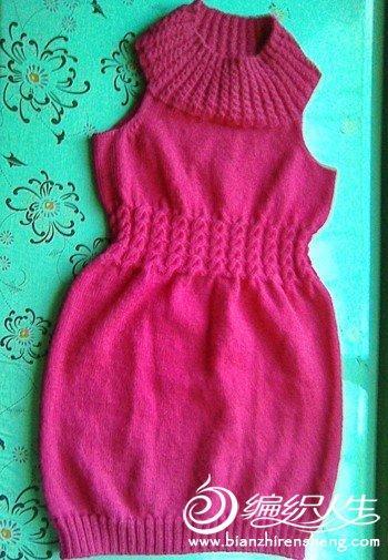 棒针手工毛衣编织 玫红色毛衣套裙图解教程