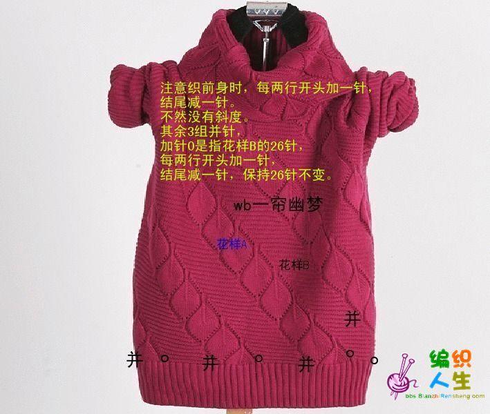 有编织说明的双层镂空叶子图案 高领翻领毛衣