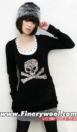 最新2009手工编织长款棒针花样毛衣修出美好身材