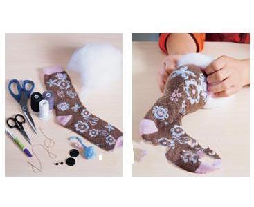 手工DIY 用旧袜子制作小猪玩偶