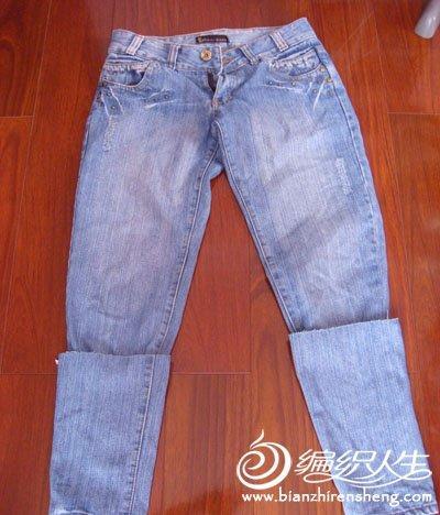 牛仔裤旧物改造变身时尚蕾丝边中裤教程