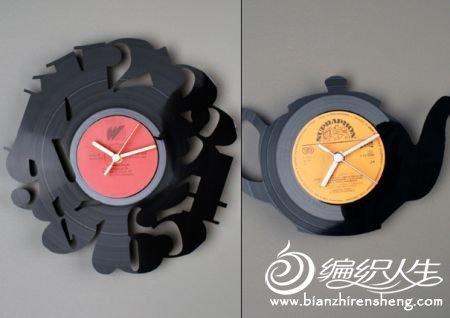 用旧唱片改造钟表装饰品的图片