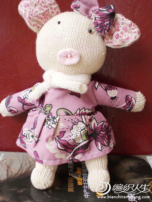 用手套DIY时尚小猪作品图片