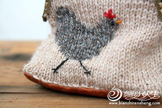 超可爱毛线编织母鸡口金包图解