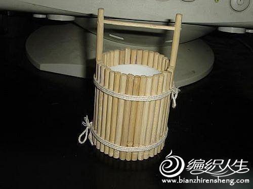 创意个性diy 用筷子手工制作可以盛水的小木桶