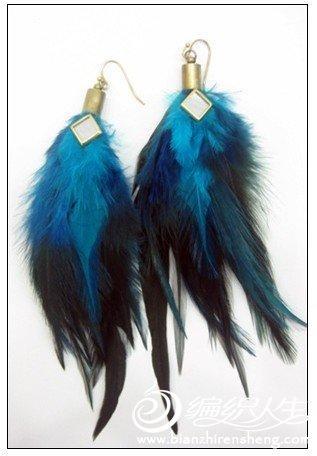 DIY耳环制作个性羽毛耳饰图片