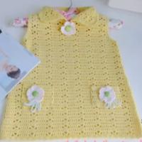黄色宝宝背心裙--青瓜手工毛衣