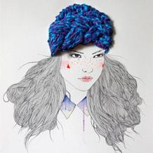 毛线与铅笔画融合:Izziyana Suhaimi铅笔毛线插画欣赏