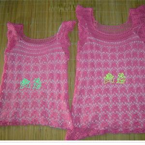 给嫂嫂和小侄女钩的亲子套装 短袖镂空毛衣款式图解