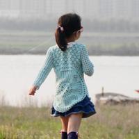 梨花调 女童钩针蕾丝圆摆圆领罩衫