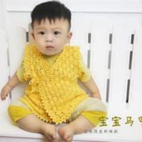 手工钩织系带叠襟宝宝背心视频教程