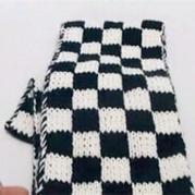棒针双面双色方格围巾织法视频教程