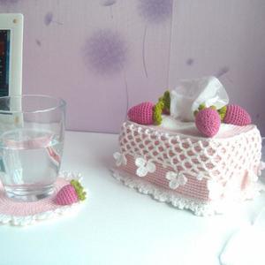 钩针纸巾盒图解 粉红控的粉系车饰、家饰