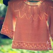 花叶 丝羊毛棒针女童毛衣
