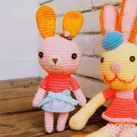 邦妮小兔 钩针穿裙子的小兔详细图解教程
