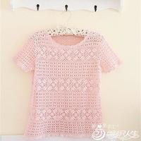 粉丝 世界编织1粉嫩钩针镂空蕾丝罩衫