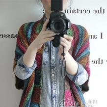 同心格 最炫民族风钩织结合彩虹披肩式开衫外套