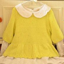 花涧溪 可做亲子装的裙摆灯笼袖棒针毛衣