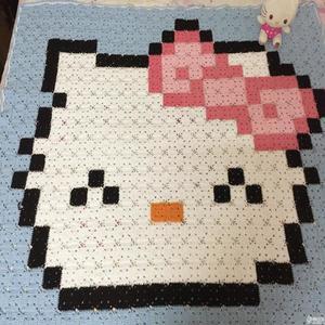 钩针Kitty图案方格拼花毯(附无梗连接方法)