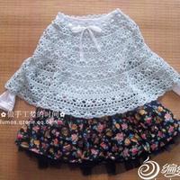 女童钩针系带春秋斗篷披肩 也可以做裙子