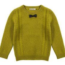 仿淘宝minipeace童装 男童领结休闲圆领棒针毛衣