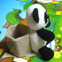 教师节礼物 钩针熊猫笔筒