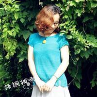 清平 云素亚麻棒针夏季短袖毛衣织法视频