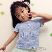 女童钩针蕾丝蓝色短袖小圆领套衫