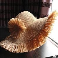 大牌范儿的夏日大檐流苏棉草钩针遮阳帽
