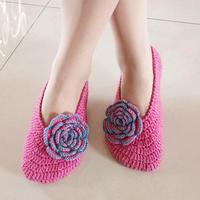 半天可完成的漂亮钩针玫瑰花地板鞋