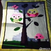 森林中的精灵 儿童盖毯猫头鹰图案钩针毯子