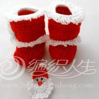 云宝宝婴幼儿钩针圣诞靴子的编织视频 圣诞套装(3)编织人生视频学堂