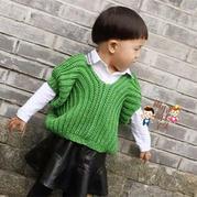 简单易织个性儿童棒针蝙蝠袖毛衣
